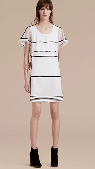Fil Coupé and Lace-trimmed Shift Dress