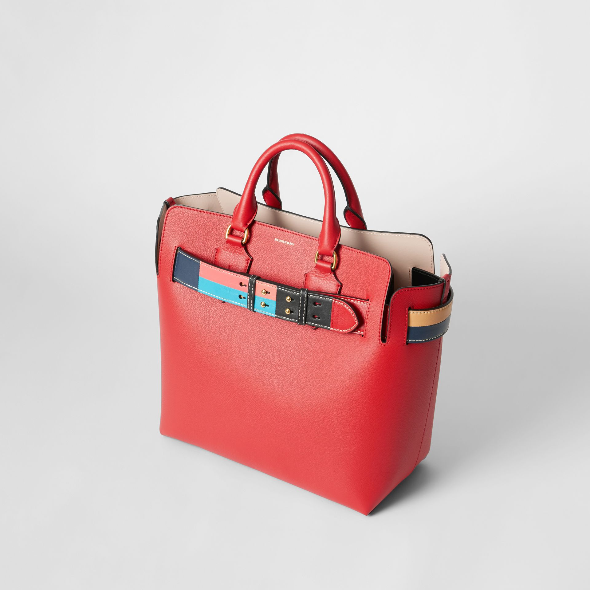 The Medium Leather Colour Block Detail Belt Bag in Bright Crimson Pink - Women | Burberry - gallery image 2