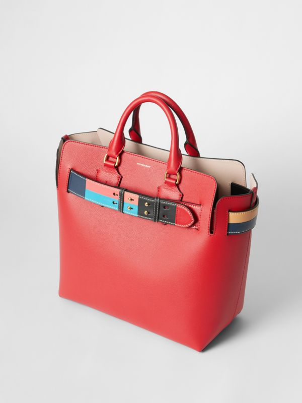The Medium Leather Colour Block Detail Belt Bag in Bright Crimson Pink - Women | Burberry - cell image 2