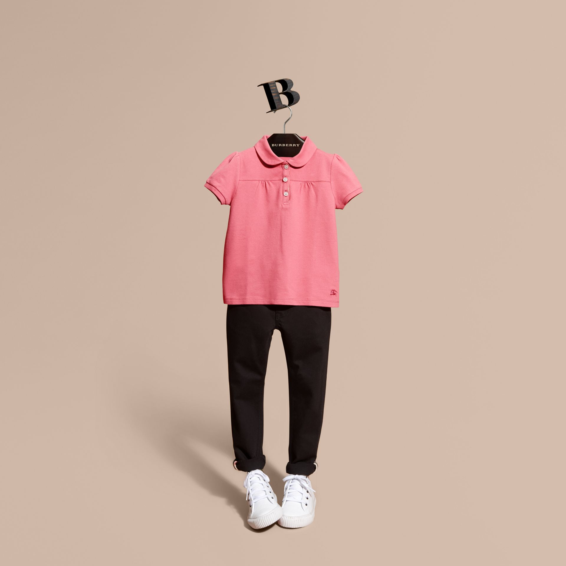 Ruched Detail Stretch Cotton Polo Shirt Pink Azalea - gallery image 1