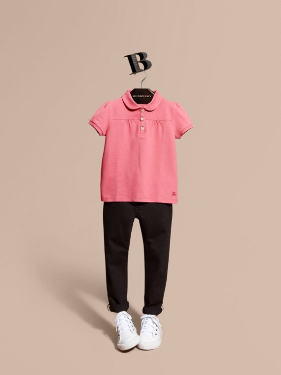 Ruched Detail Stretch Cotton Polo Shirt Pink Azalea