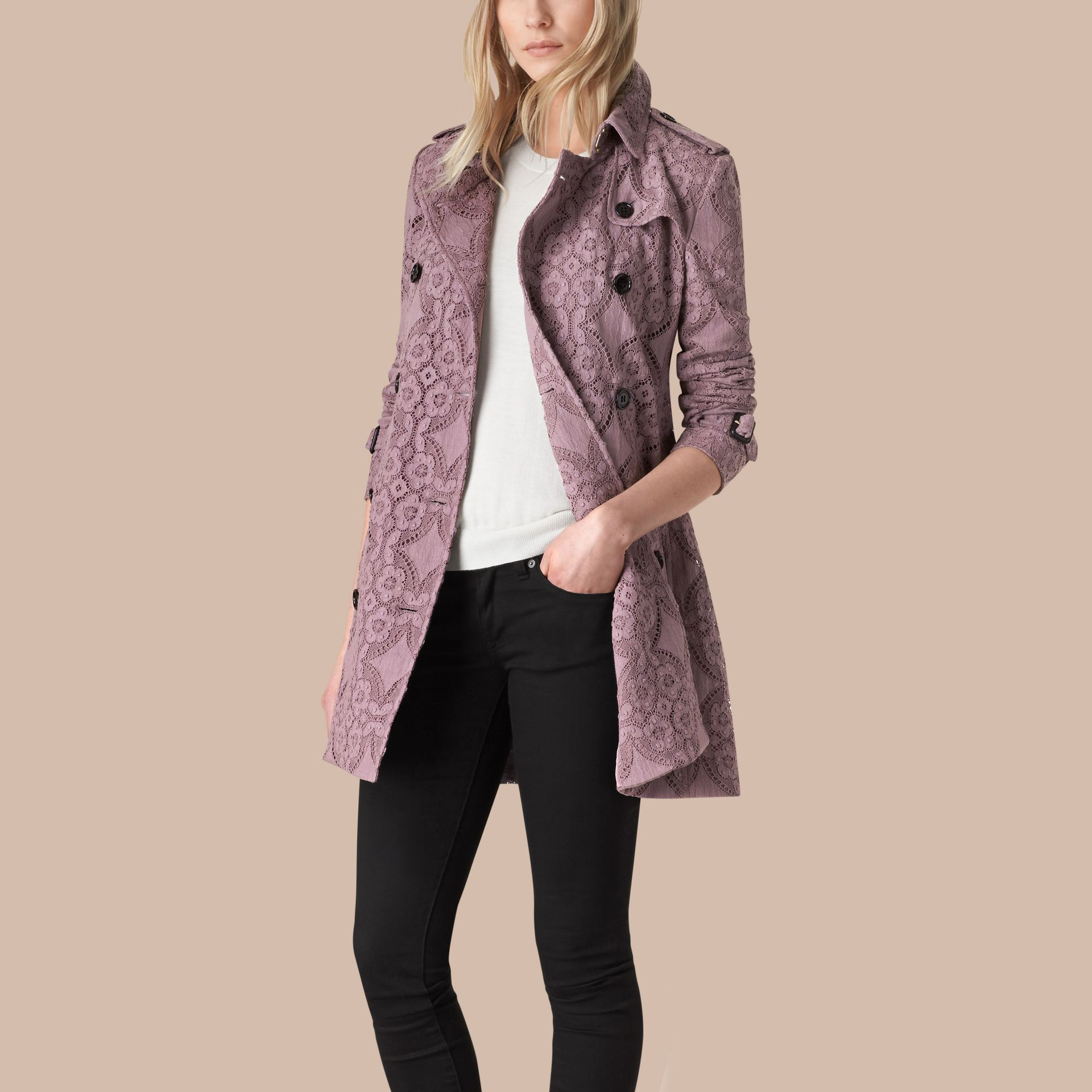 Pale mauve Gabardine Lace Trench Coat - gallery image 3