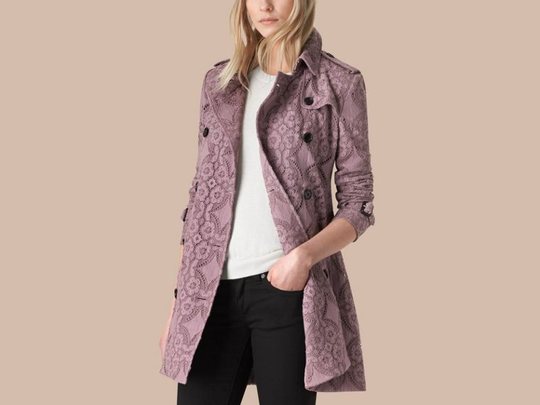 Pale mauve Gabardine Lace Trench Coat - cell image 2