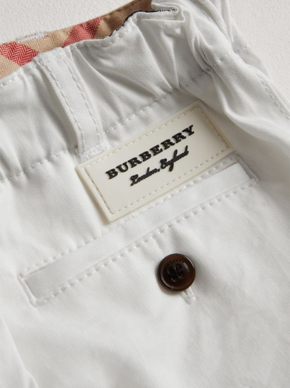 Cotton Twill Chino Shorts in White - Children | Burberry - cell image 1