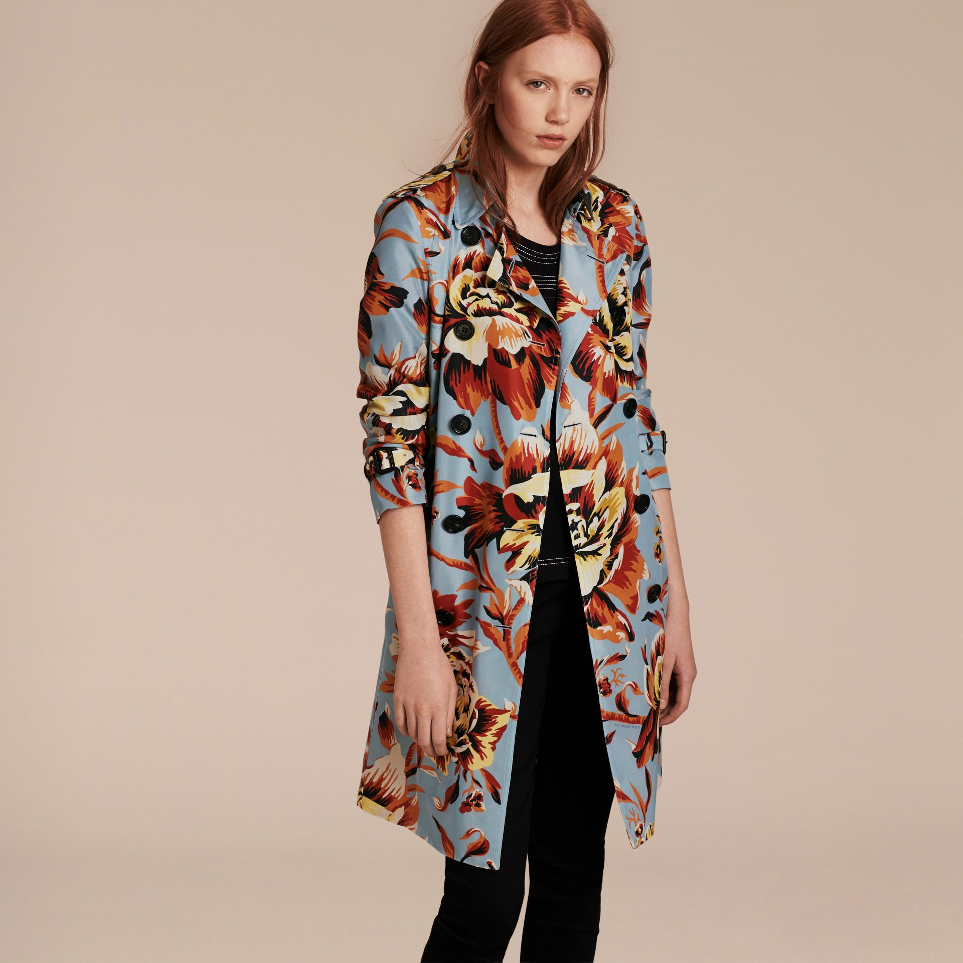 Vibrant orange Peony Rose Print Silk Trench Coat - gallery image 7