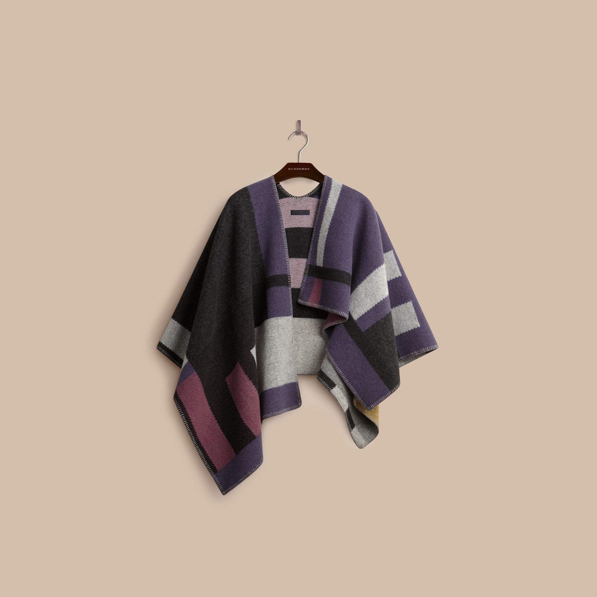 Mauve pink Check Wool and Cashmere Blanket Poncho - gallery image 4