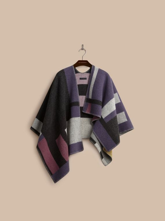 Mauve pink Check Wool and Cashmere Blanket Poncho - cell image 3