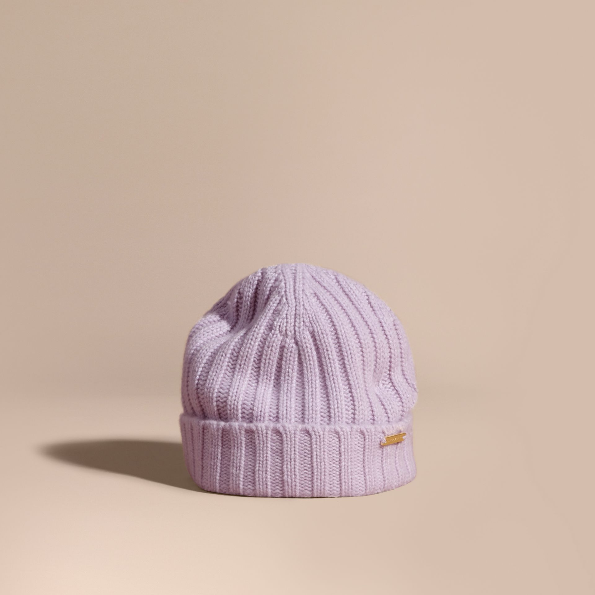 Ribbed Knit Wool Cashmere Beanie in Dusty Lilac - Women | Burberry - gallery image 1