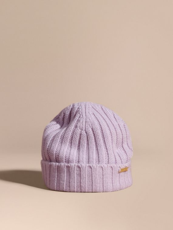 Ribbed Knit Wool Cashmere Beanie Dusty Lilac