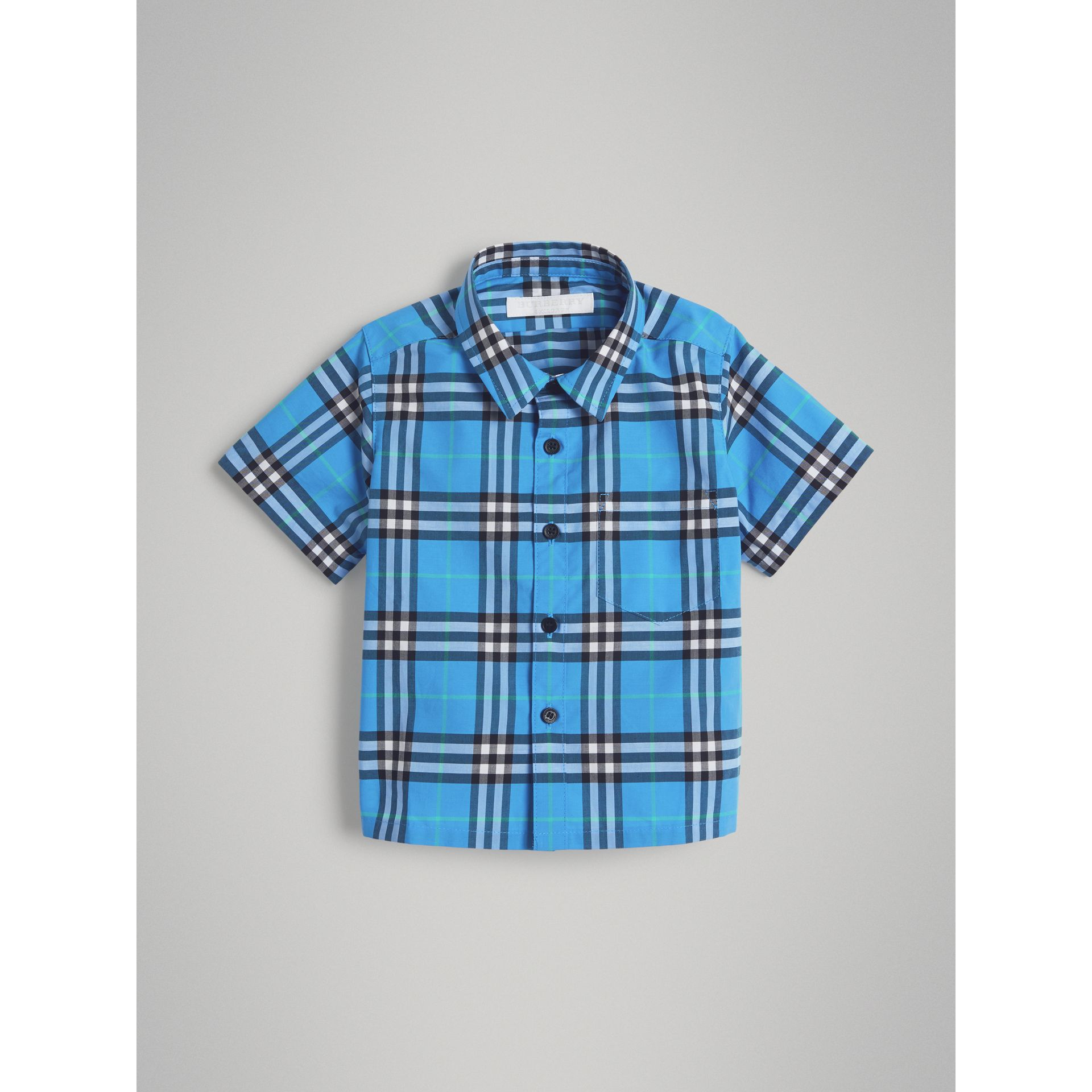 Short-sleeve Check Cotton Shirt in Azure Blue | Burberry - gallery image 0