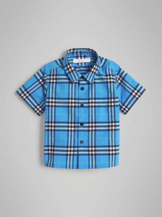 Short-sleeve Check Cotton Shirt in Azure Blue
