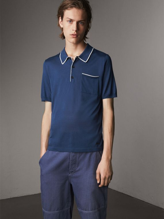 Tipped Detail Knitted Silk Polo Shirt - Men | Burberry