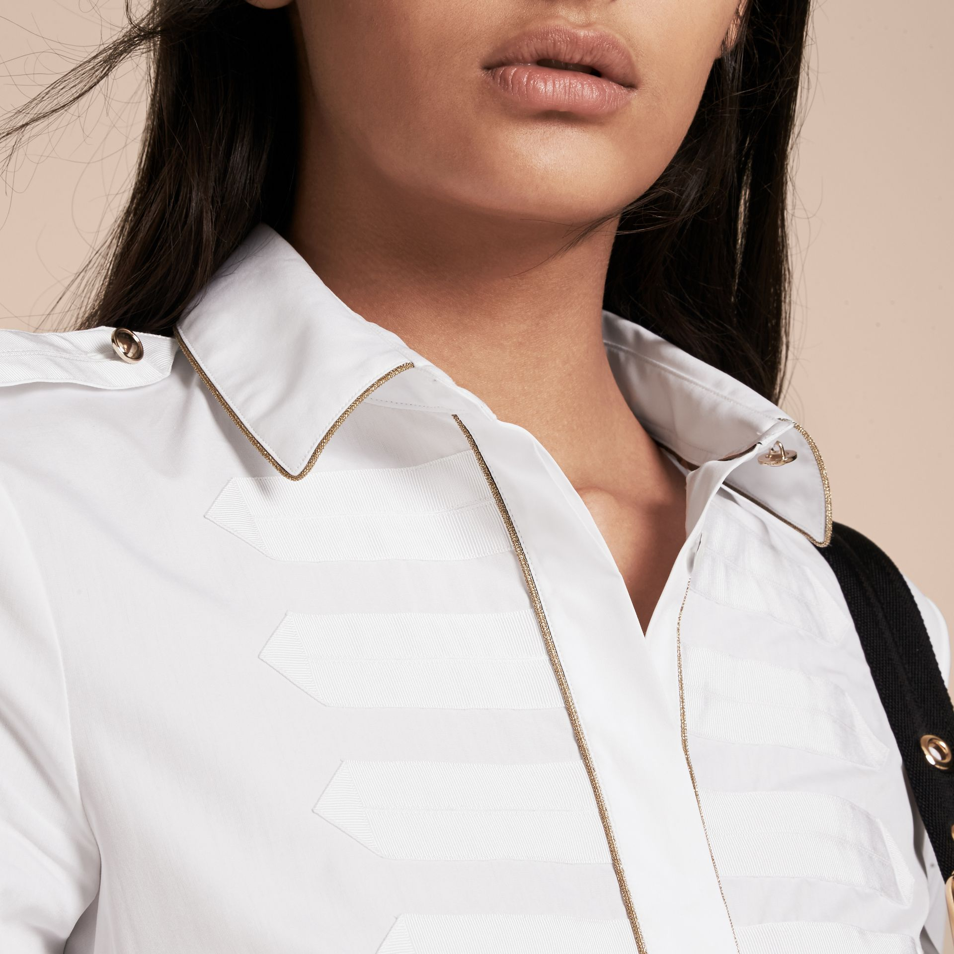 Piped Jacquard Cotton Shirt in White - gallery image 5
