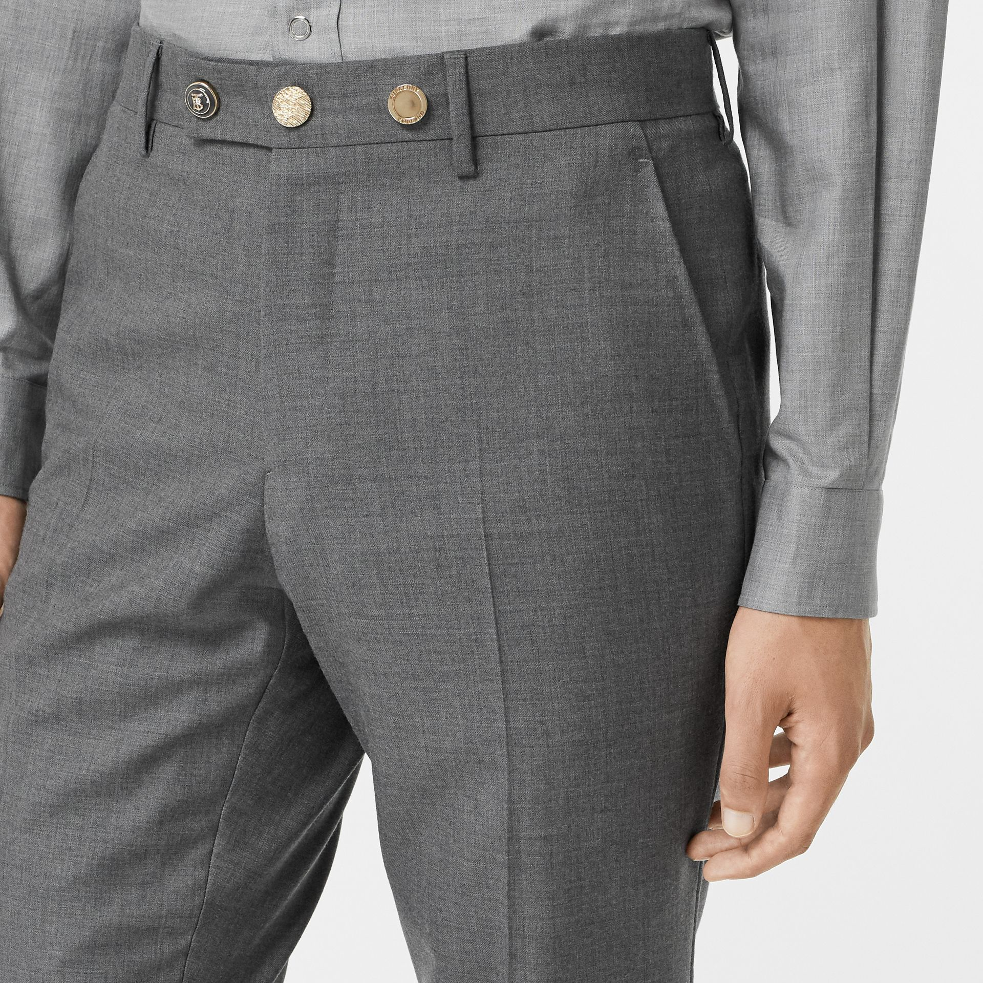 Classic Fit Metal Button Wool Tailored Trousers in Light Grey | Burberry - gallery image 5