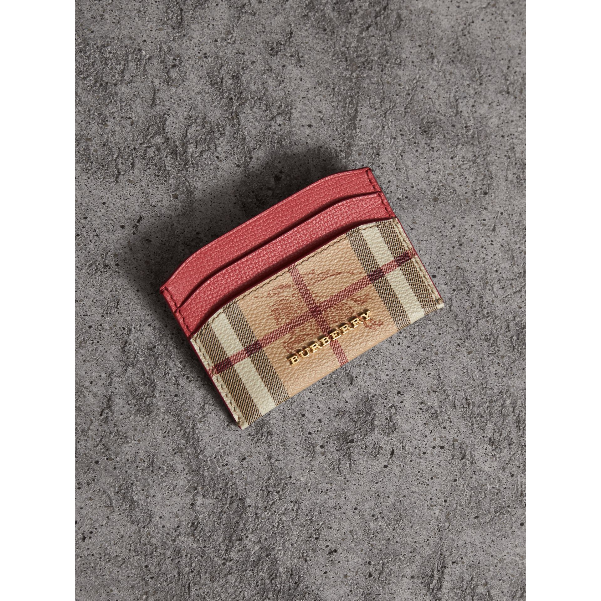 Haymarket Check and Leather Card Case in Coral Red - Women | Burberry United States - gallery image 1