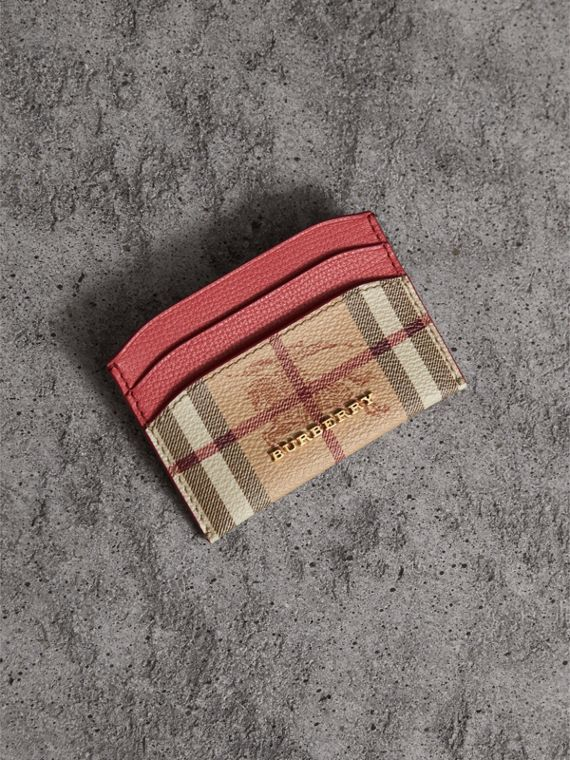 Haymarket Check and Leather Card Case in Coral Red