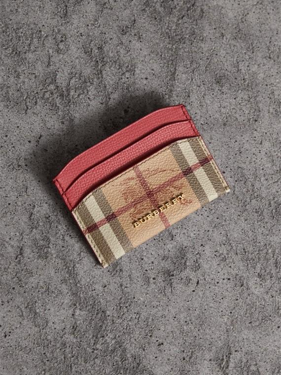 Porte-cartes à motif Haymarket check avec cuir (Rouge Corail)