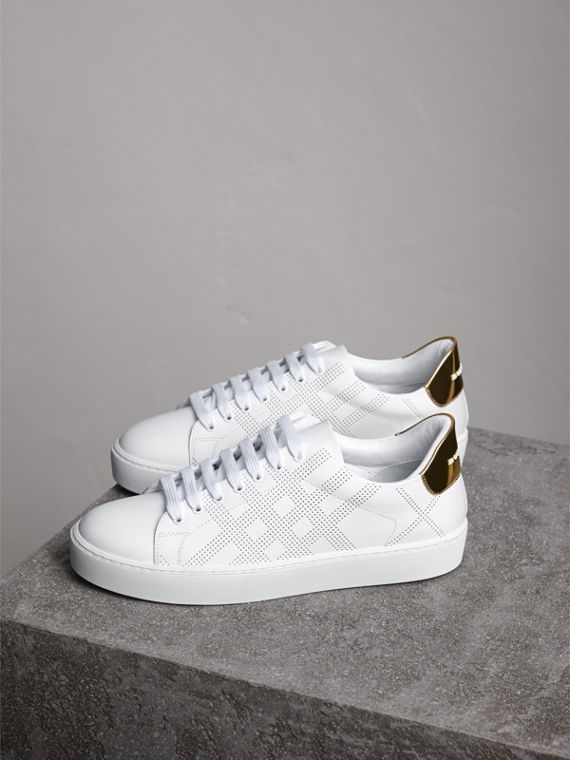 Perforated Check Leather Trainers in Optic White - cell image 3