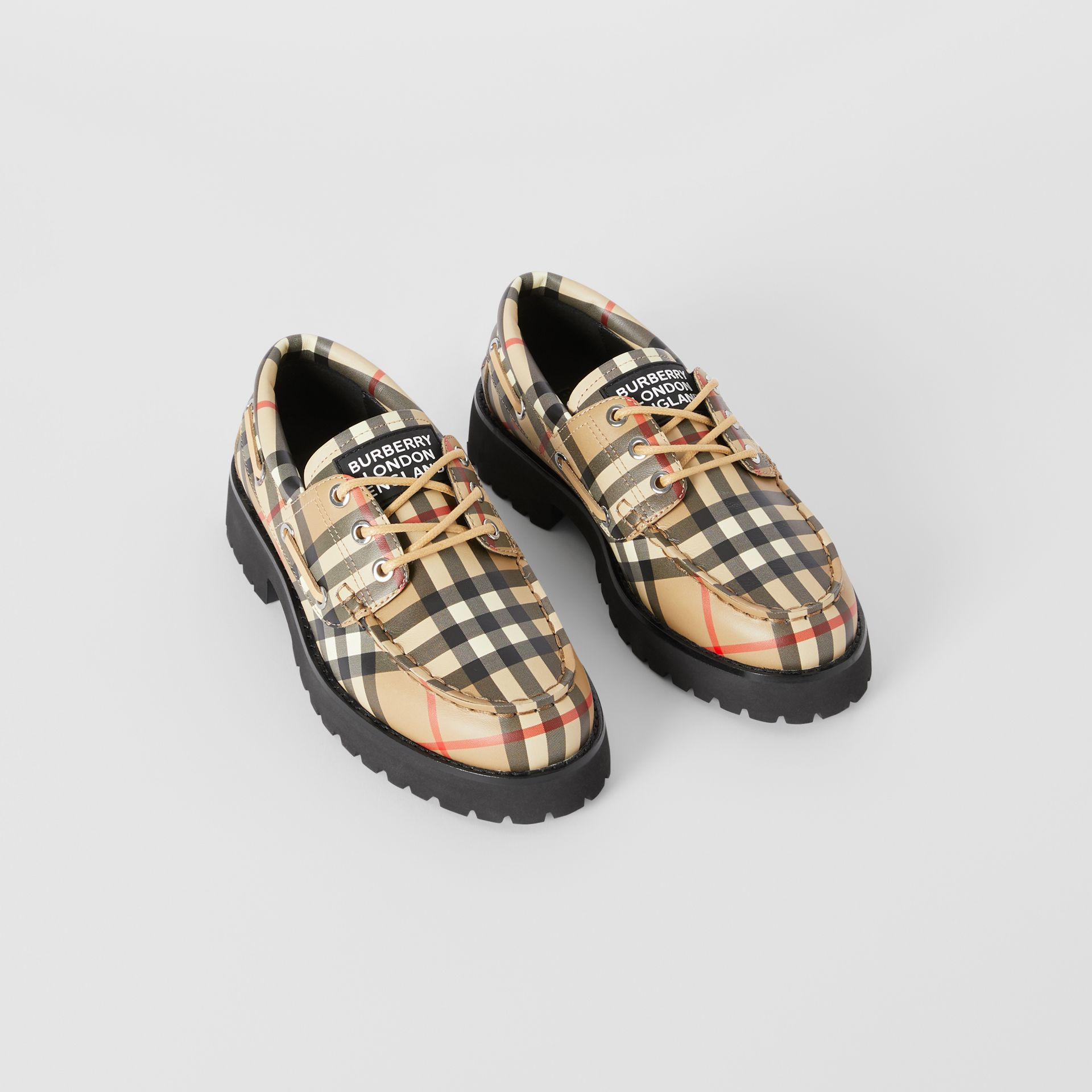Vintage Check Leather Boat Shoes in Archive Beige - Children | Burberry - gallery image 0