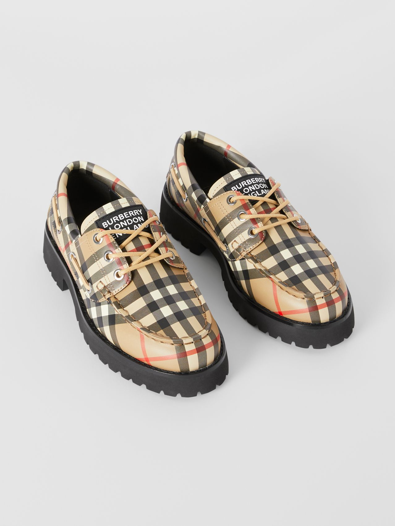 Vintage Check Leather Boat Shoes in Archive Beige