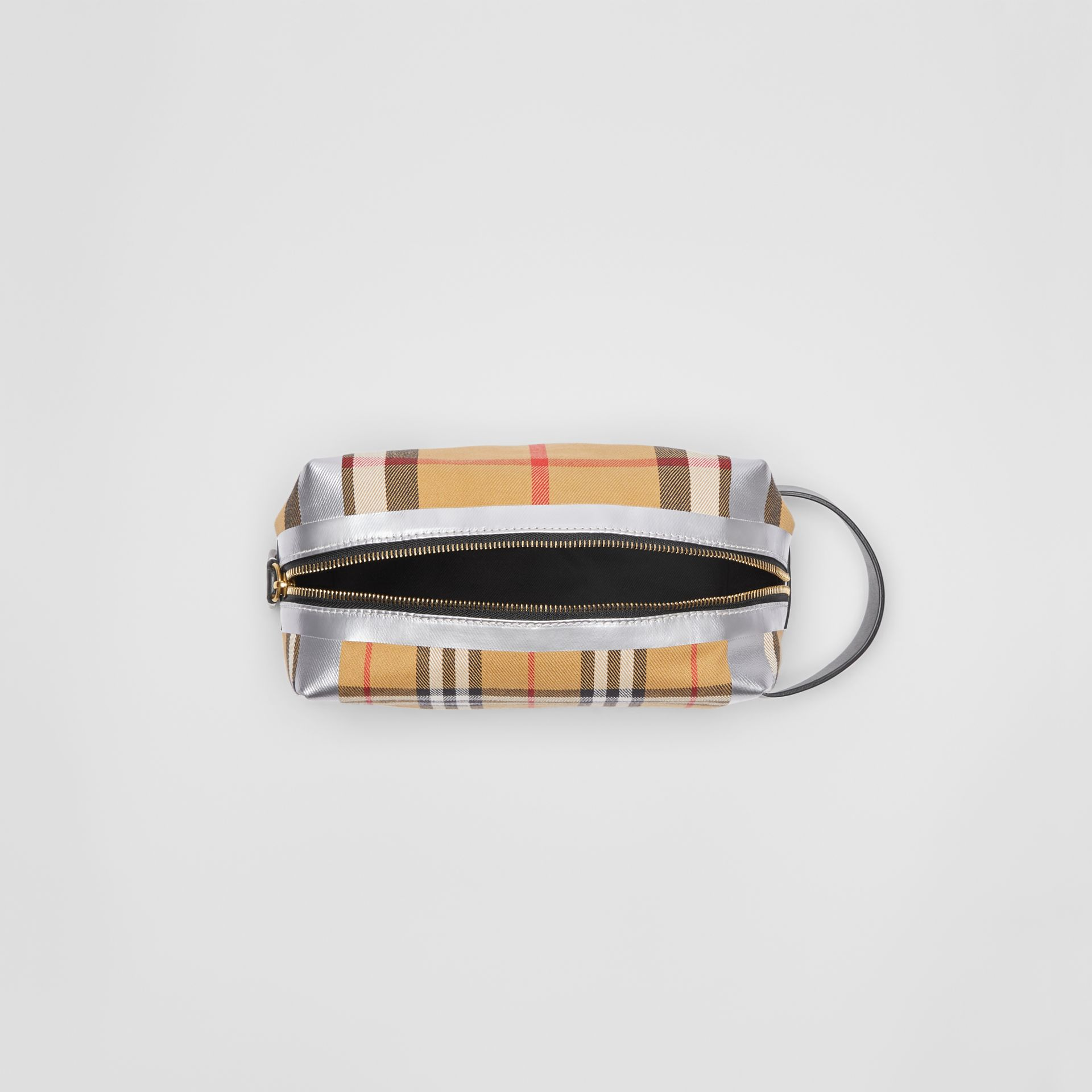 Metallic Detail Vintage Check Pouch in Black/silver | Burberry Australia - gallery image 3