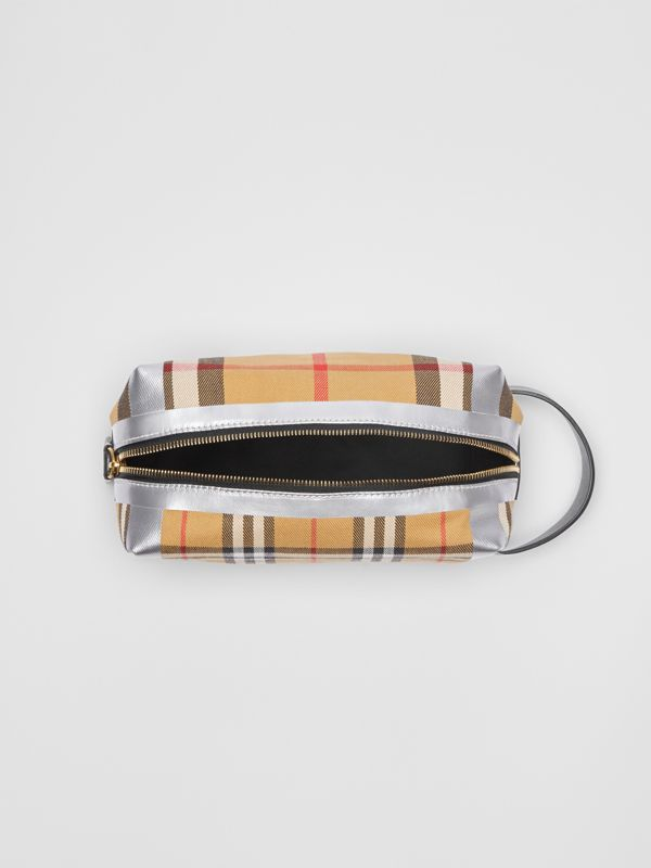 Metallic Detail Vintage Check Pouch in Black/silver | Burberry Australia - cell image 3