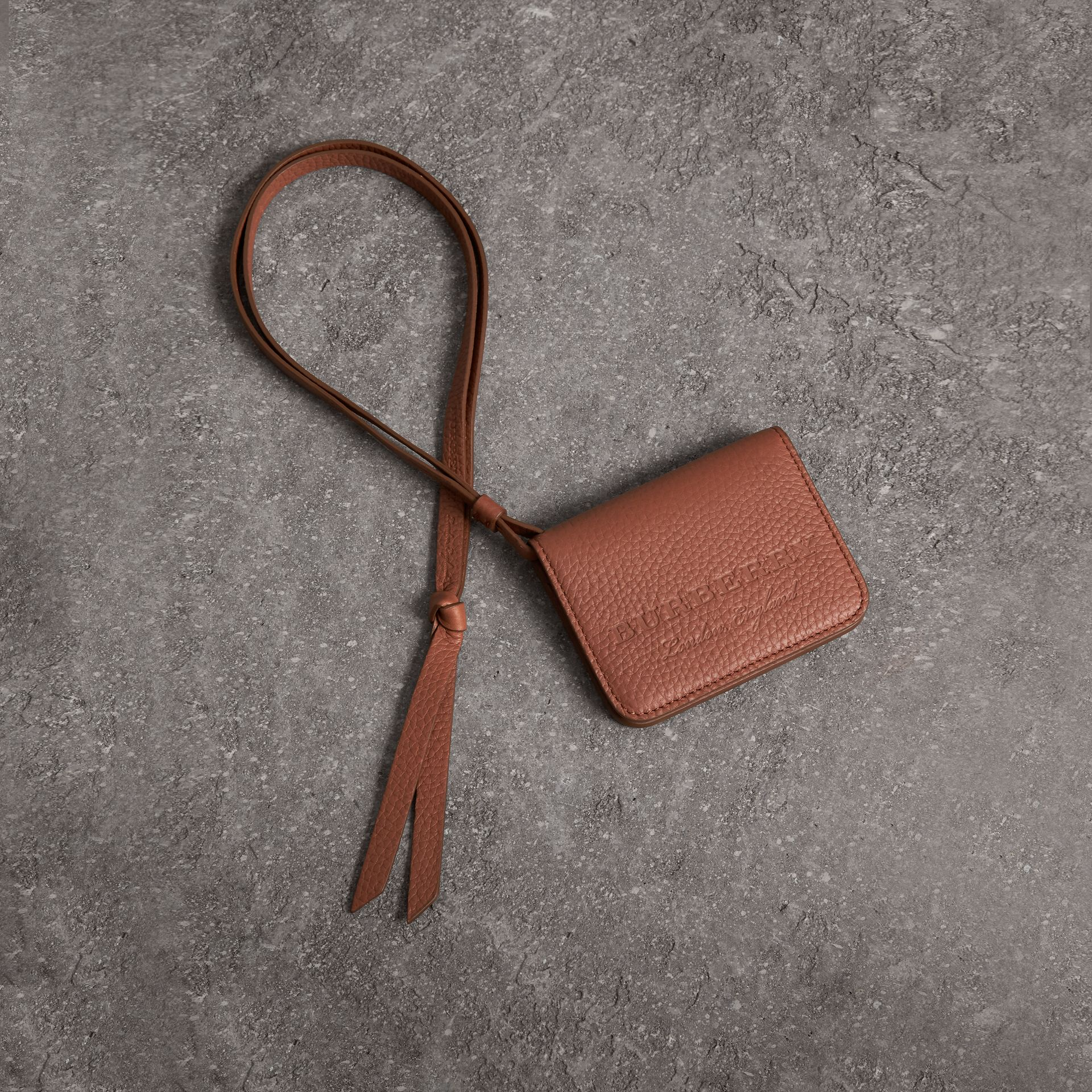 Embossed Leather ID Card Case Charm in Chestnut Brown | Burberry - gallery image 0