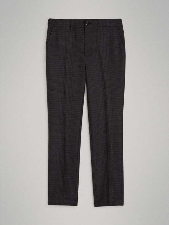 Prince of Wales Check Wool Tailored Trousers in Dark Grey