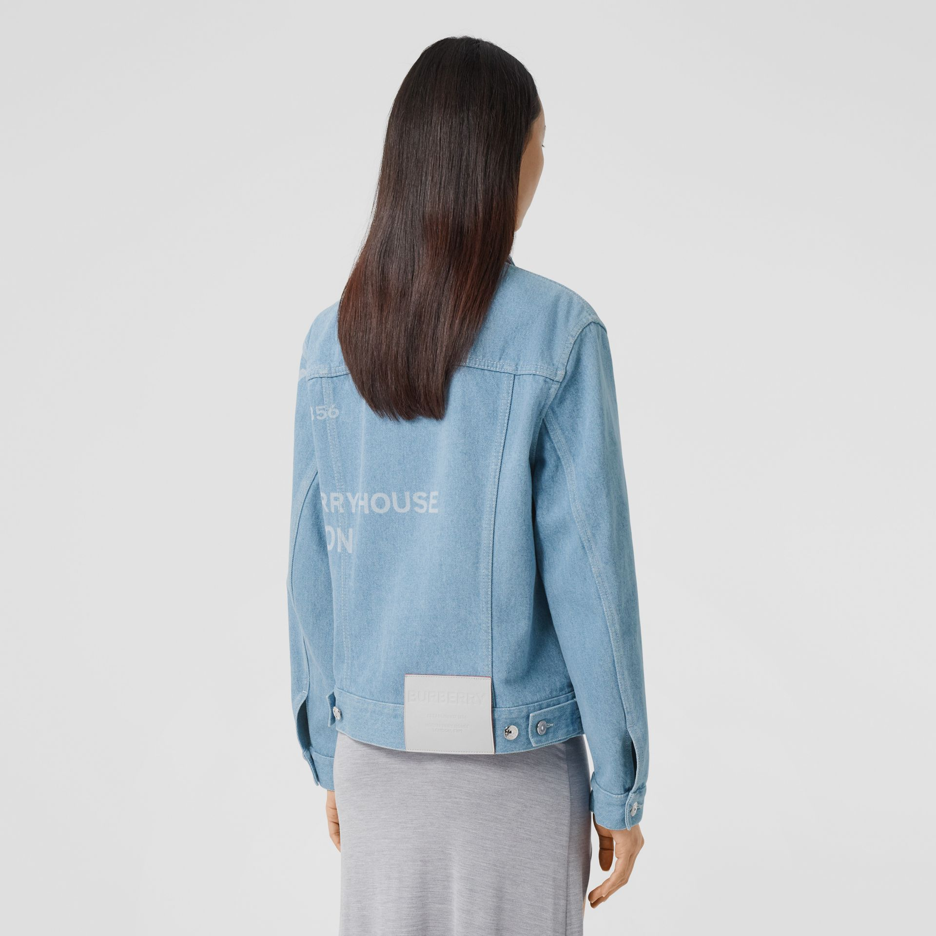 Horseferry Print Bleached Denim Jacket in Light Indigo - Women | Burberry Singapore - gallery image 2