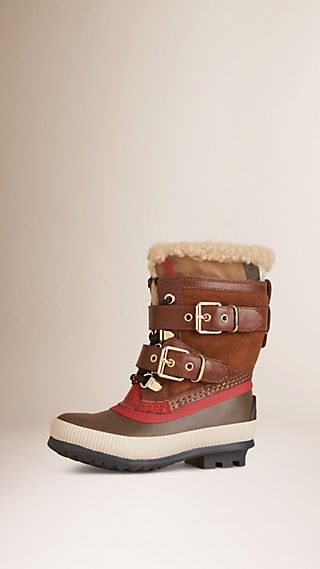 House Check and Suede Trim Shearling Boots