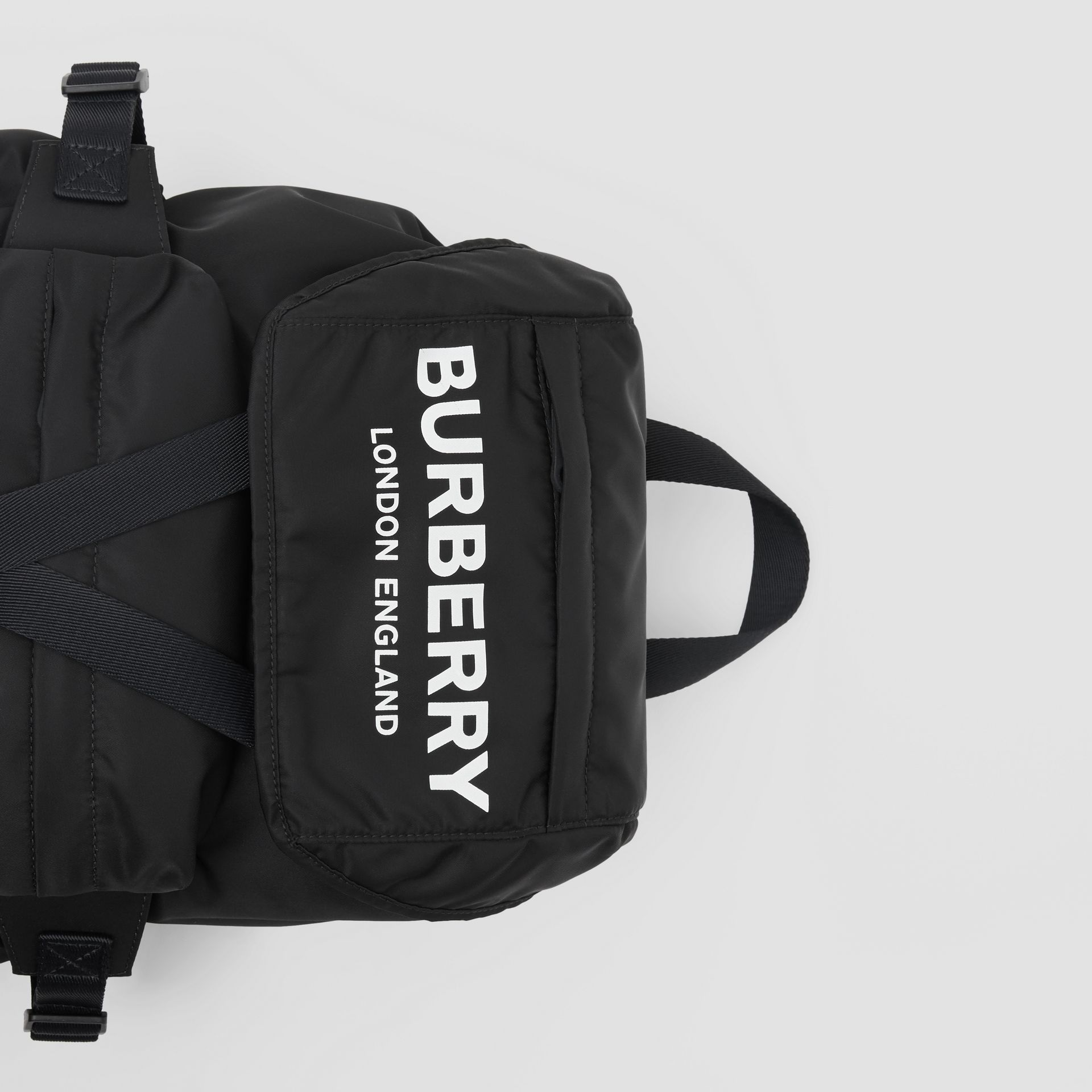 Logo Print Nylon Backpack in Black - Women | Burberry United States - gallery image 1