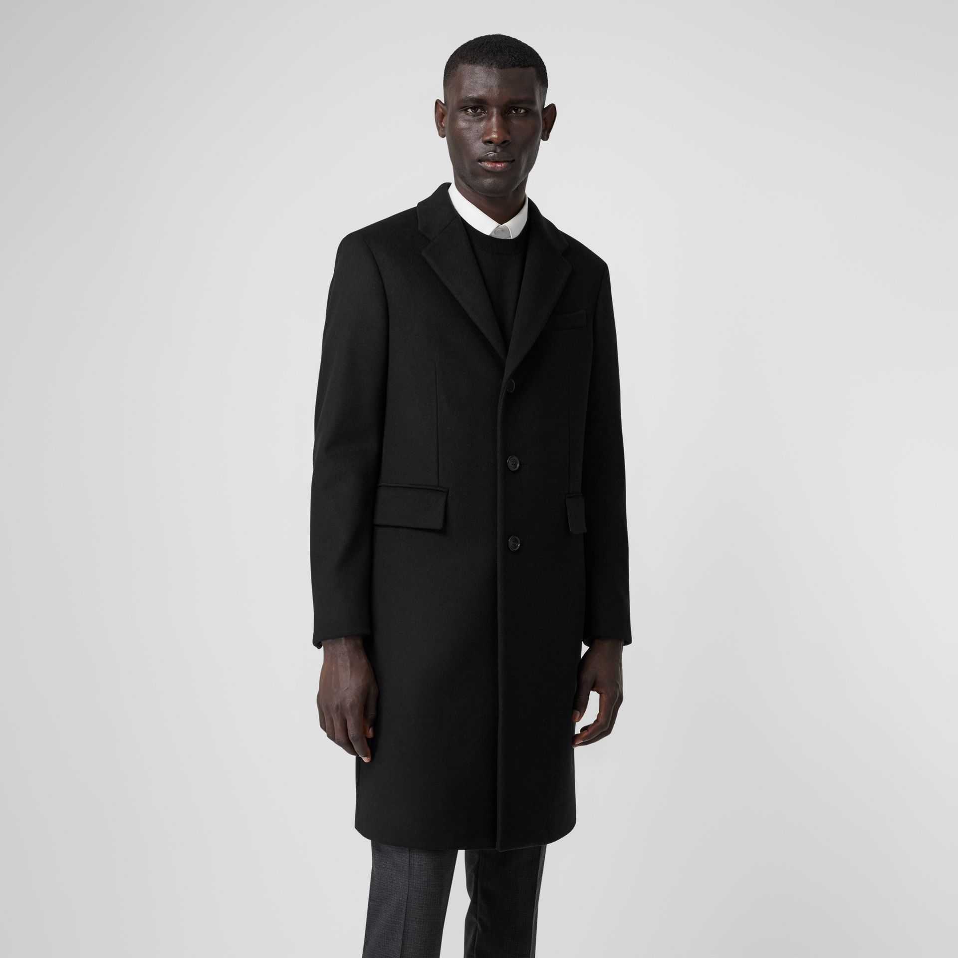 Wool Cashmere Tailored Coat in Black - Men | Burberry United Kingdom - gallery image 5