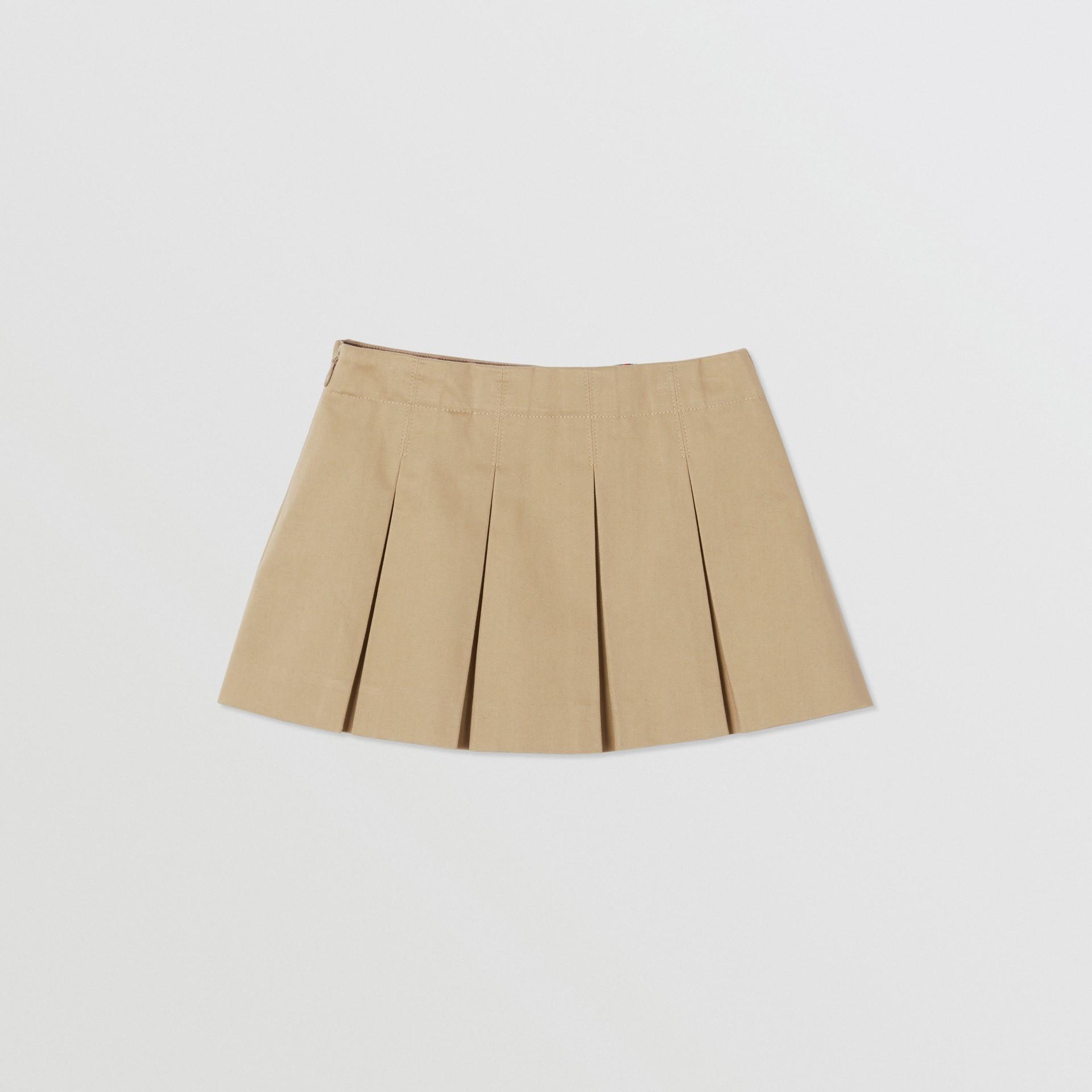 Monogram Stripe Print Box-pleated Cotton Skirt in Honey - Children | Burberry Australia - gallery image 3