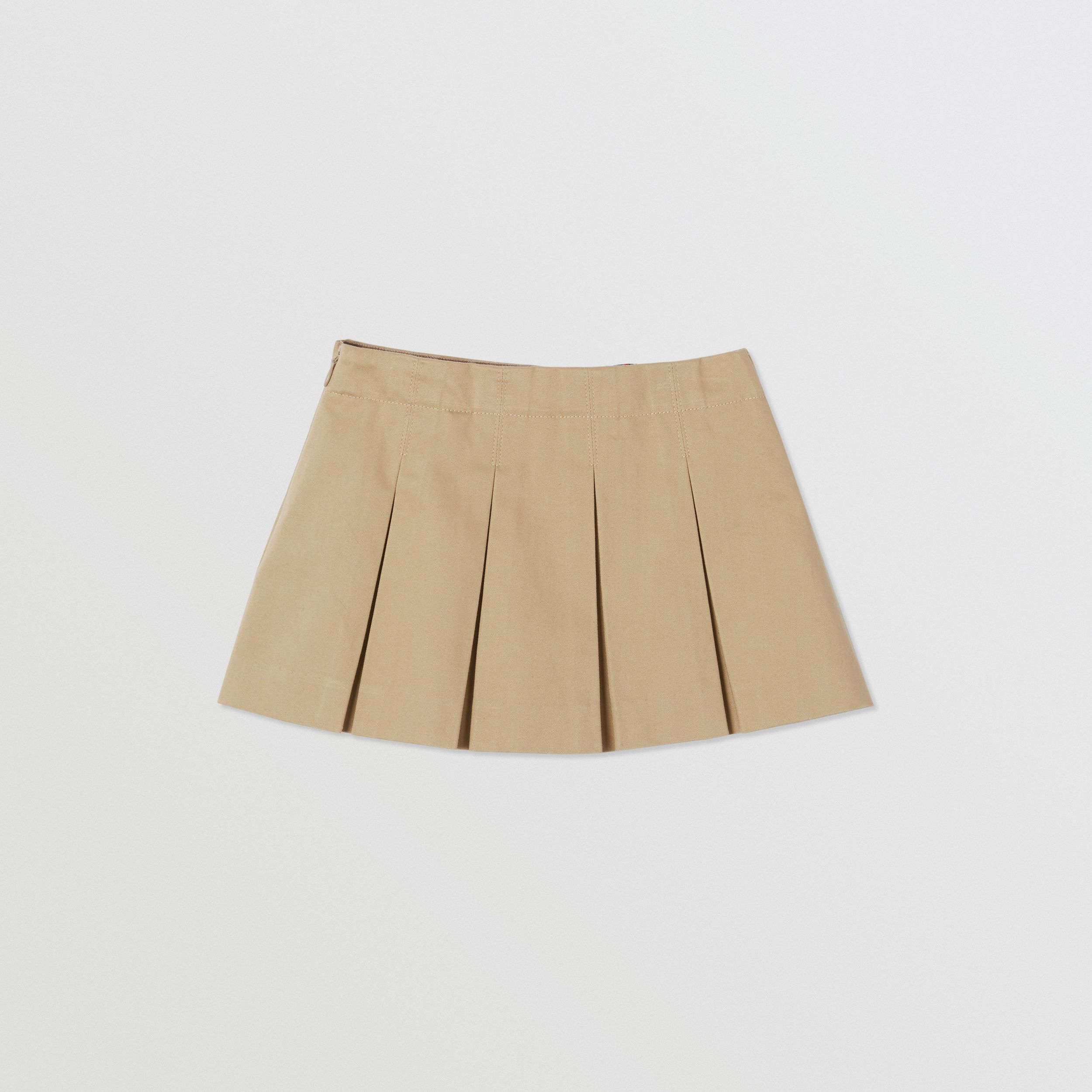 Monogram Stripe Print Box-pleated Cotton Skirt in Honey - Children | Burberry - 4