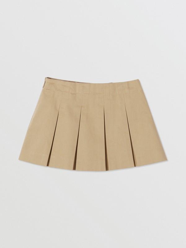 Monogram Stripe Print Box-pleated Cotton Skirt in Honey - Children | Burberry United Kingdom - cell image 3