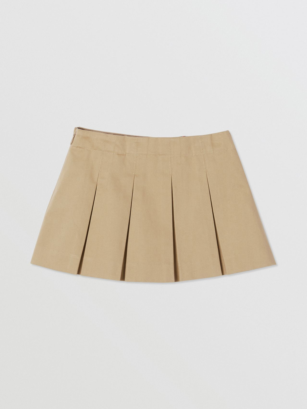 Monogram Stripe Print Box-pleated Cotton Skirt in Honey