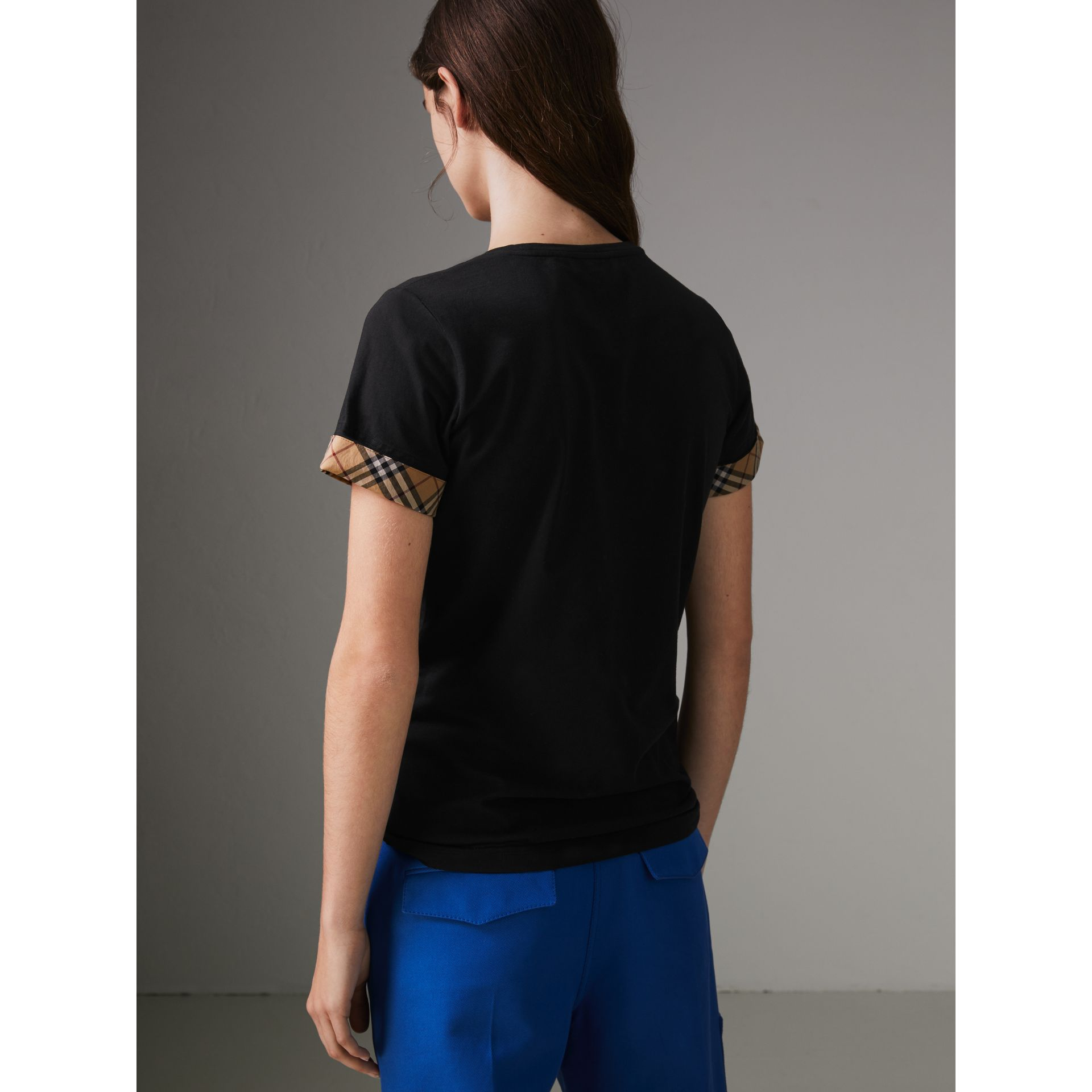 Check Detail Stretch Cotton T-shirt in Black - Women | Burberry - gallery image 2