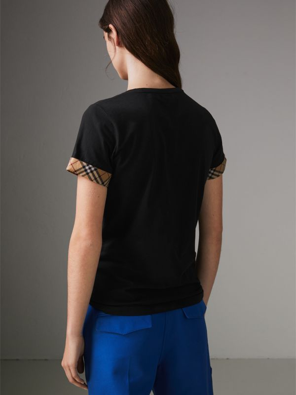 Check Detail Stretch Cotton T-shirt in Black - Women | Burberry - cell image 2