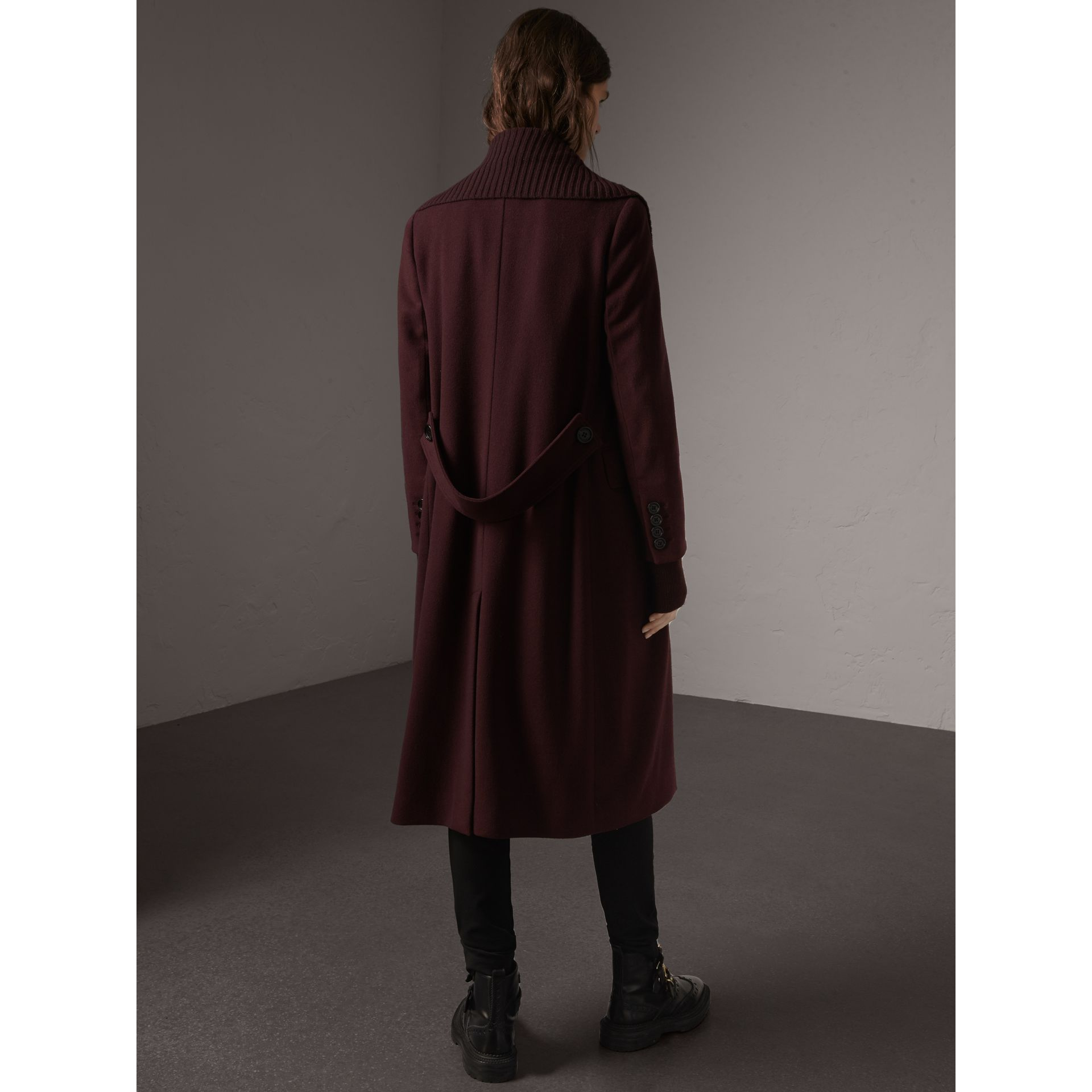 Detachable Rib Knit Collar Cashmere Coat in Blackcurrant - Women | Burberry - gallery image 3