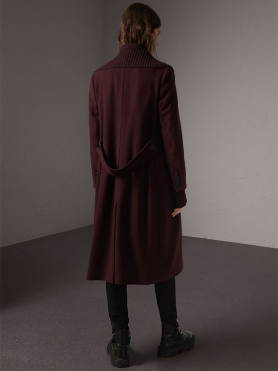 Detachable Rib Knit Collar Cashmere Coat in Blackcurrant - Women | Burberry United States - cell image 2