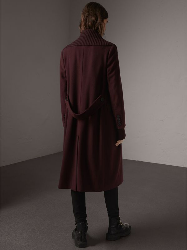 Detachable Rib Knit Collar Cashmere Coat in Blackcurrant - Women | Burberry - cell image 2