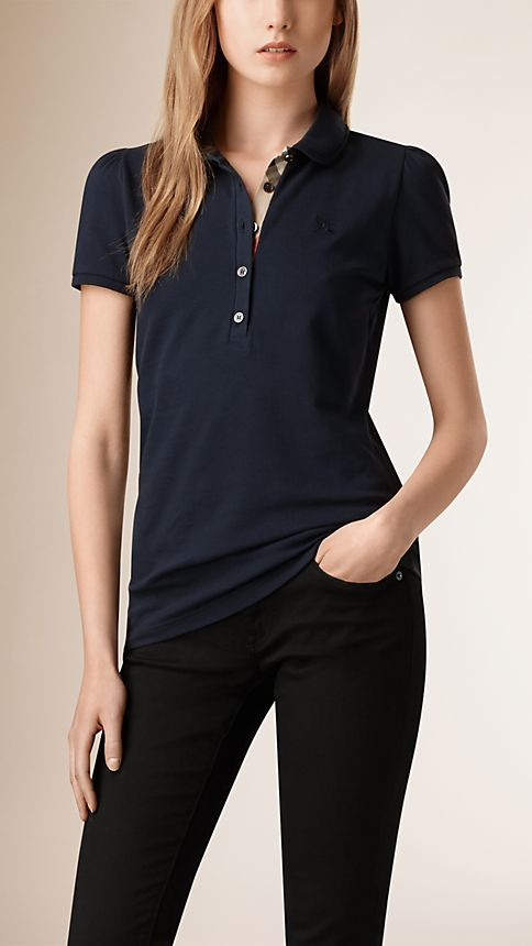 Navy Check Placket Polo Shirt - Image 1