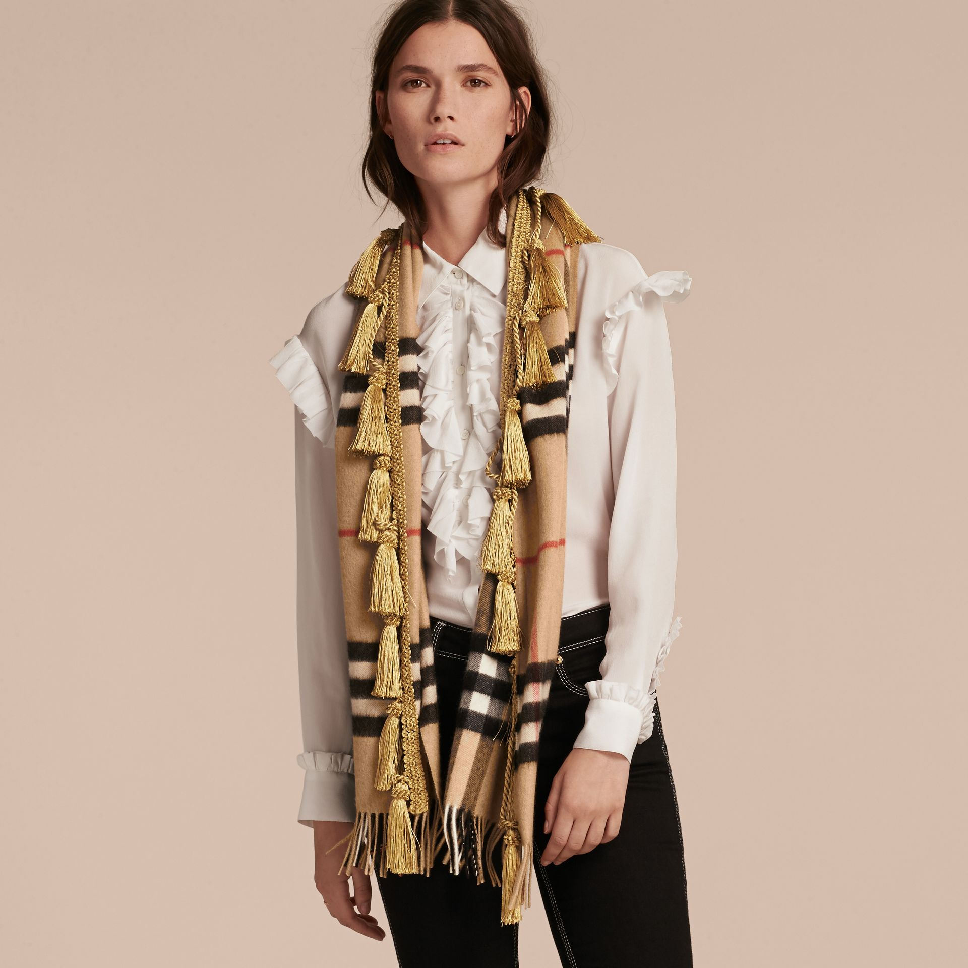 Camel The Classic Cashmere Scarf in Check with tassels - gallery image 3