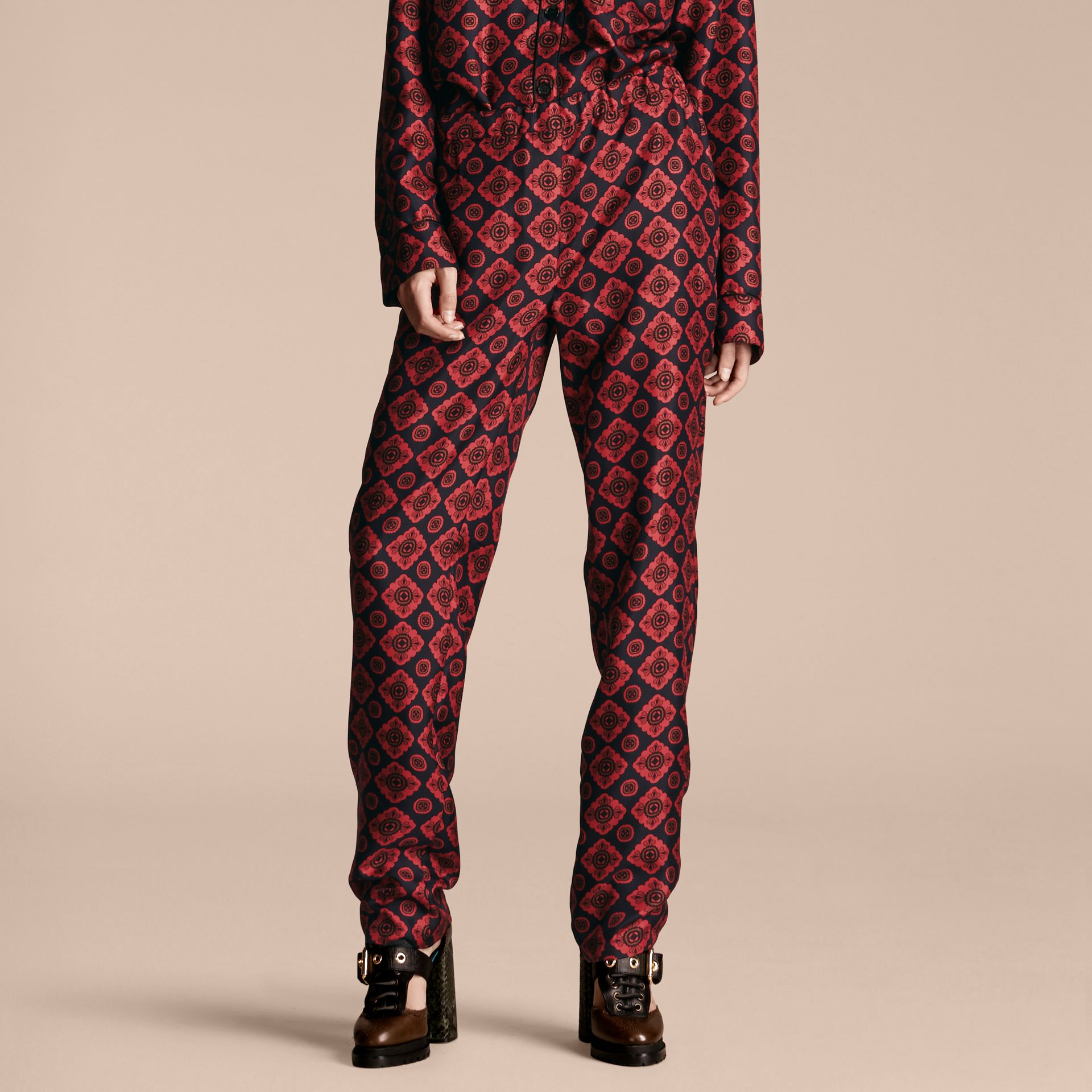 Navy Geometric Tile Print Silk Twill Pyjama-style Trousers - gallery image 1