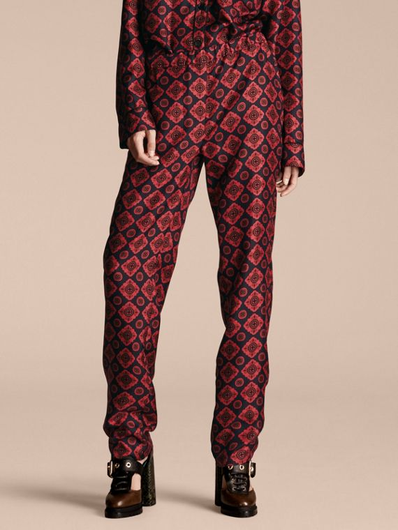 Geometric Tile Print Silk Twill Pyjama-style Trousers