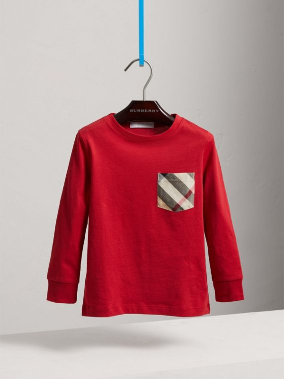 Long-sleeve Check Pocket Cotton T-shirt in Military Red - Boy | Burberry United States - cell image 2