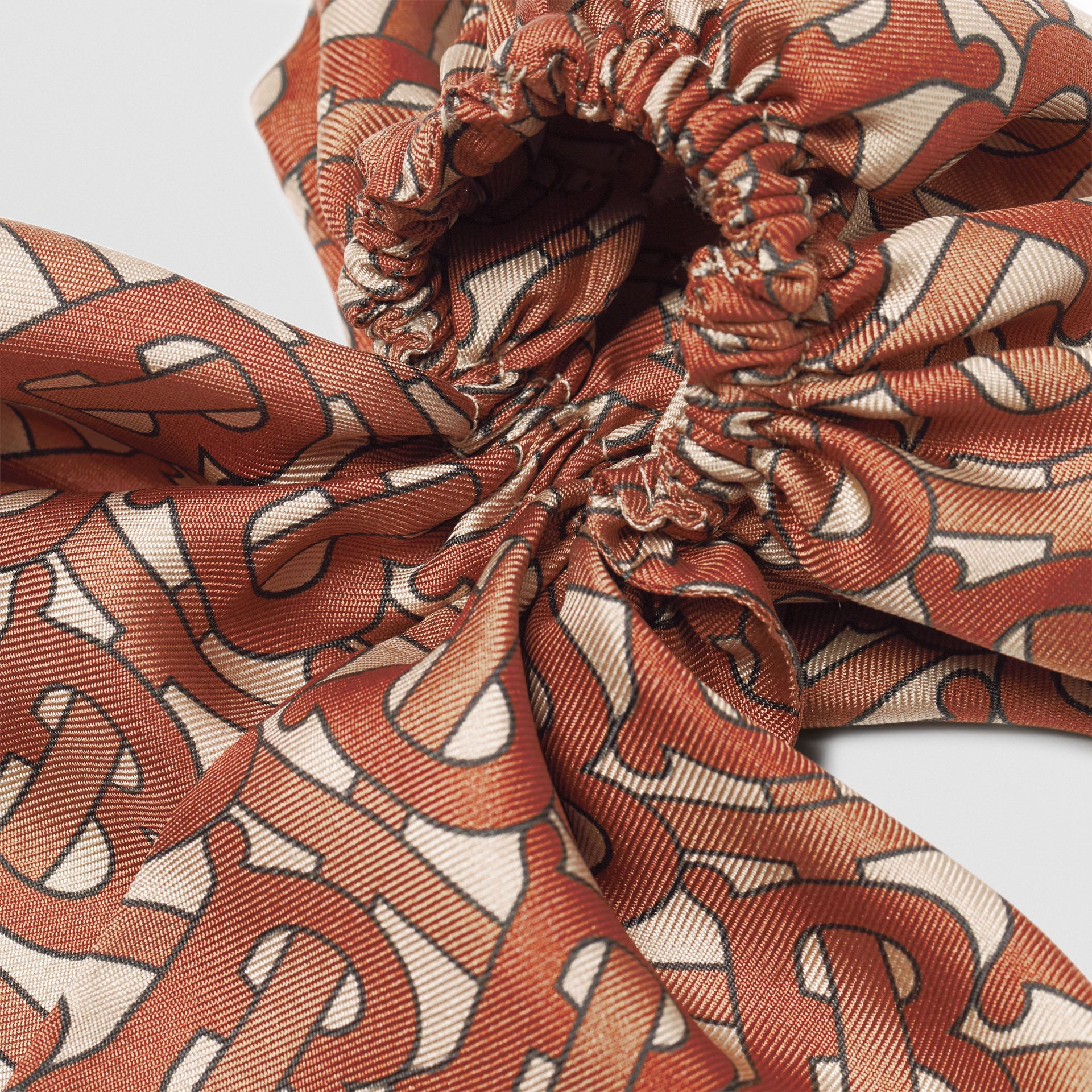Monogram Print Silk Hair Scarf in Brown - Women | Burberry - gallery image 1