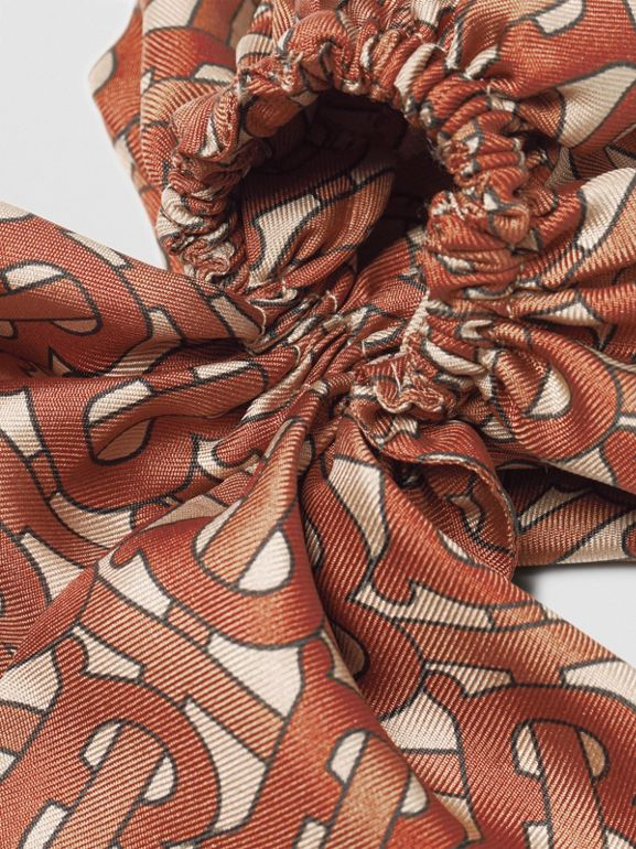 Monogram Print Silk Hair Scarf in Brown - Women | Burberry - cell image 1