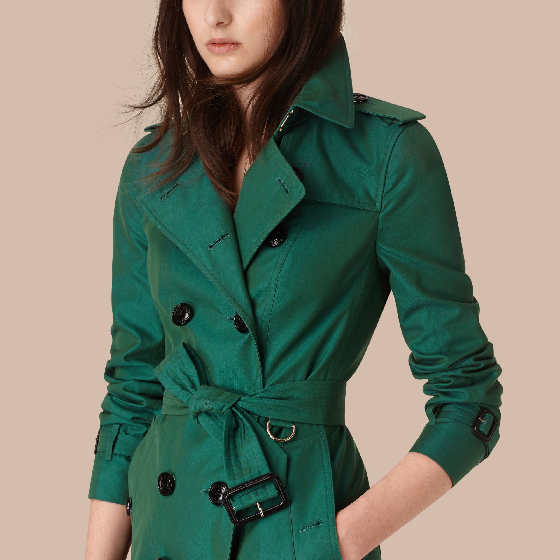 Aqua green Cotton Gabardine Trench Coat Aqua Green - gallery image 2