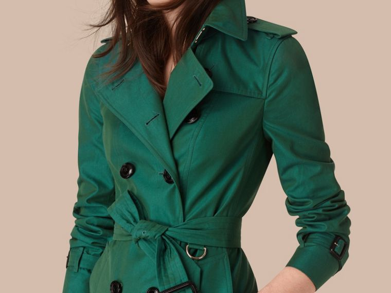 Aqua green Cotton Gabardine Trench Coat Aqua Green - cell image 1